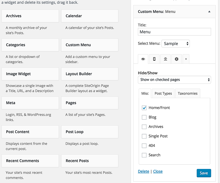 دانلود افزونه تنظیمات هوشمند ابزارک وردپرس   widget options 1