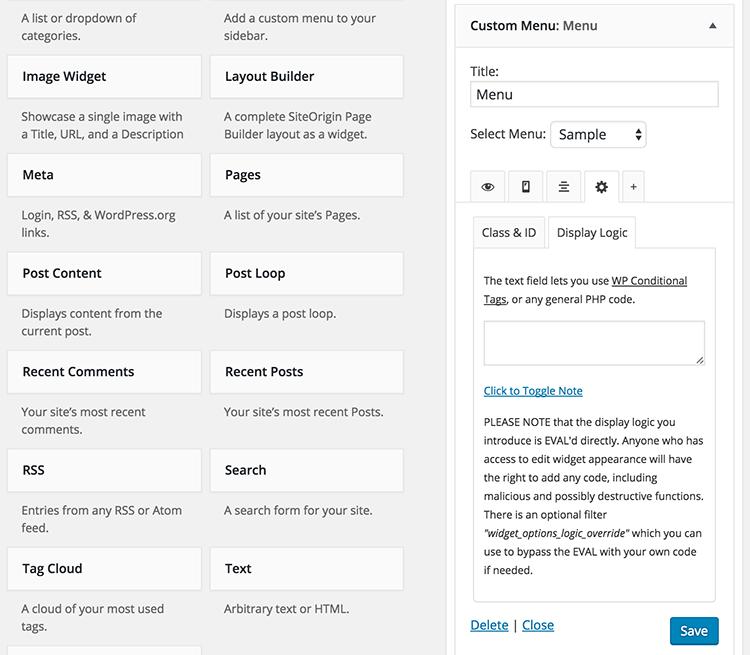 دانلود افزونه تنظیمات هوشمند ابزارک وردپرس   widget options 4