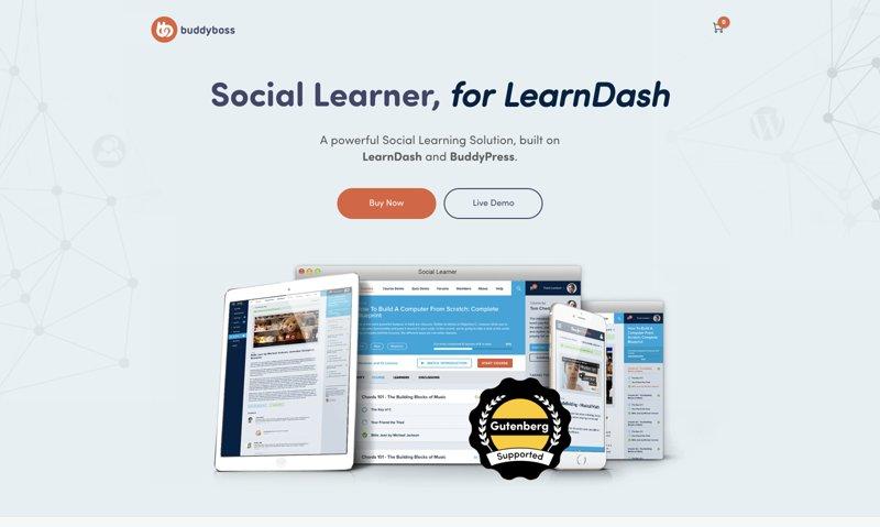 قالب آموزش آنلاین و شبکه اجتماعی Social Learner 8