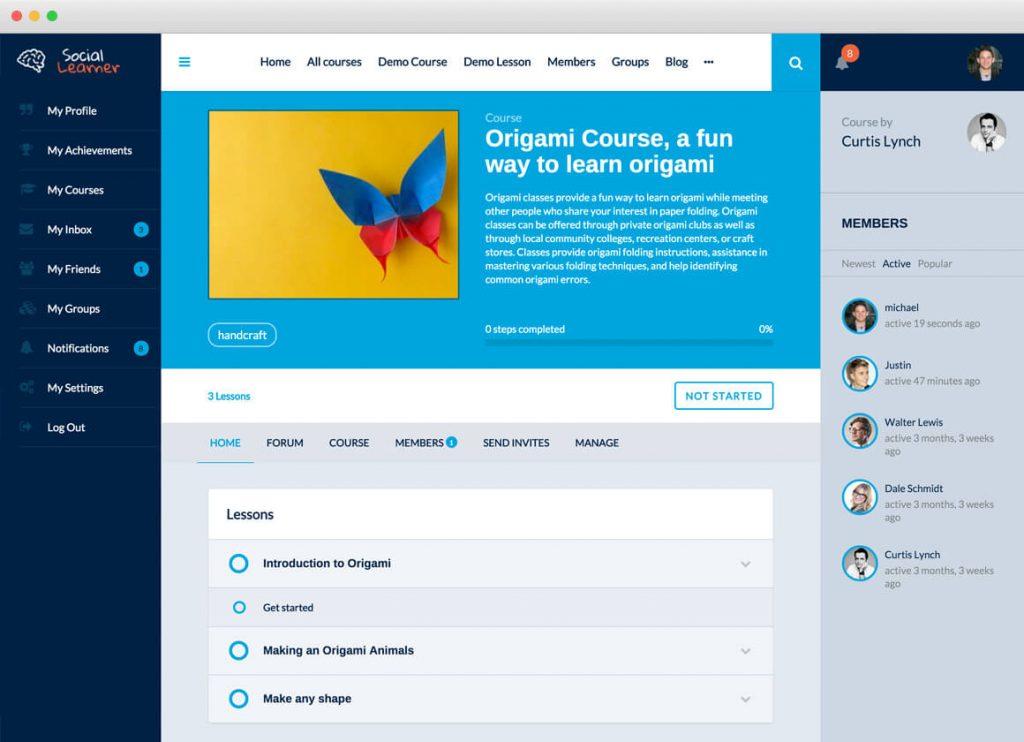 قالب آموزش آنلاین و شبکه اجتماعی Social Learner 3